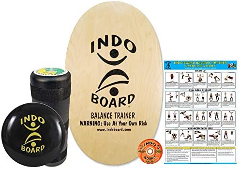 INDO BOARD Original Training Package Balance Board for Fitness Training and Fun, Comes with 30 X 18 Deck, 6.5 Roller and 14 Cushion, 14 Color Choices