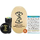 """INDO BOARD Original Training Package Balance Board– Includes 30"""" X 18"""" Deck, 6.5"""" Roller and 14"""" IndoFLO Cushion - Natural Wood Finish"""