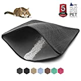 WePet Cat Litter Mat, Kitty Litter Trapping Mat, Large Size, Honeycomb Double Layer Mats, No Phthalate, Urine Waterproof, Easy Clean, Scatter Control, Catcher Litter Box Rug Carpet 30x25 Inch Black Larger Image