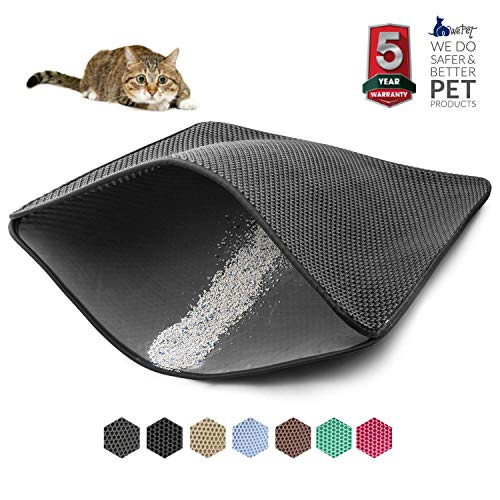 WePet Original Cat Litter mat Large Kitty Litter Box Trapping Sifting Mats Waterproof Urine Repellent for Keep Floor/Carpet Clean Best for Grumpy Cat Large