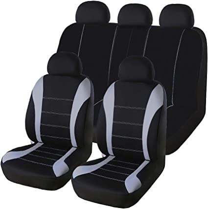Breathable PU Leather 3MM Sponge Car SUV 1 Front Single Seat Covers Black Gray