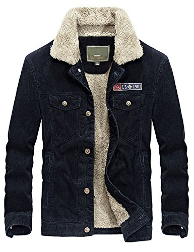 Yeokou Men's Vintage Slim Sherpa Lined Shearling Corduroy Trucker Jacket