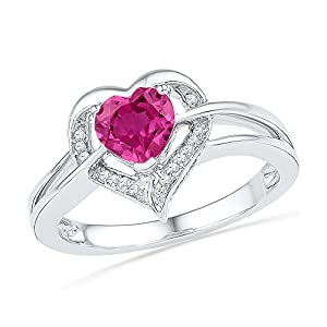 Size - 9 - Solid 925 Sterling Silver Heart Round Pink Simulated Sapphire And White Diamond Engagement Ring OR Fashion Band Prong Set Solitaire Shaped Halo Ring (.04 cttw)