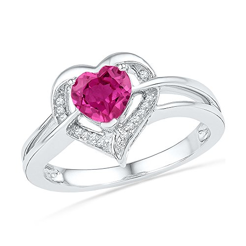Jewel Tie Size - 4.5-925 Sterling Silver Heart Round Pink Simulated Sapphire And White Diamond Fashion Band OR Engagement Ring Prong Set Solitaire Shaped Halo Ring (.04 cttw.)