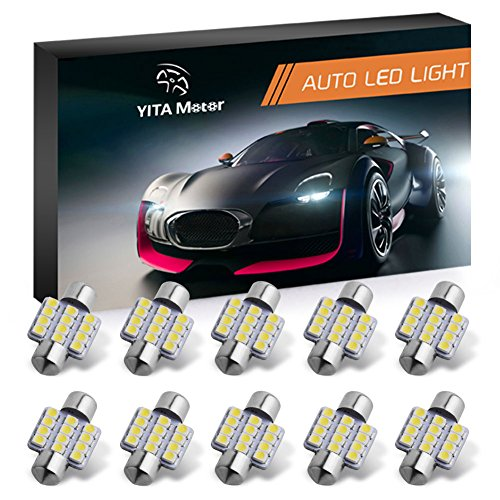 YITAMOTOR 10 Pcs 31mm 1.25 Inch 3528 12SMD 12V Festoon Dome Light LED Bulbs De3175 De3021 De3022 3175, Color White