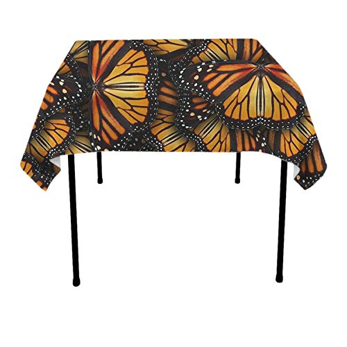 Maroon Monarch Tablecloths - JACINTAN Tablecloth Square Polyester Table Cover - Wedding Restaurant Party Banquet Decoration, Heaps of Orange Monarch Butterflies, 70x70 inch