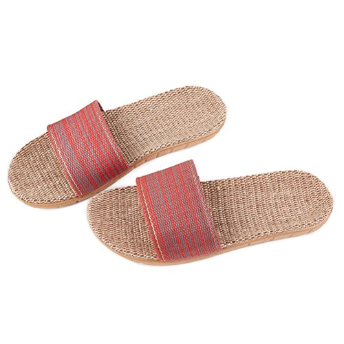 Non Indoor Cozy Summer Skidproof Slippers slip Shoes Red Couple Sandals Unisex HUPLUE Linen 6cn4qd6W