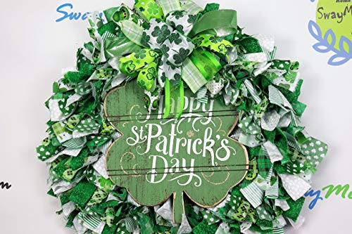 - Happy St. Patricks Day Fabric Wreath, St. Patty's Day Rag Wreath, Clover Wreath, St. Patty's Day Decor, March Wreath, Four Leaf Clover Decor