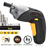 Cordless Screwdriver, Electric Screwdriver Rechargeable, 4V 2000mAh Li-ion, MAX Torque 4Nm - Dual LED, Palm-Sized, Various Bits, Power Indicator, USB Charging with Cable -TDSC02P