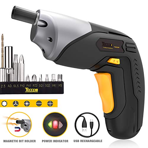 Electric Screwdriver, Cordless Screwdriver Rechargeable, 4V 2000mAh Li-ion, MAX Torque 4Nm - Dual LED, Palm-Sized, 10 Pcs Various Bits, Power Indicator, USB Charging with Cable -TDSC02P ()