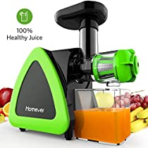Low Speed Masticating Juicer Extractor, BPA Free Cold Press Juicer, Quite Motor, with Cleaning Brush, Bigger Container, High Nutrient Juice Reducing Oxidation