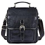 Clean Vintage Leather Cross Body Purse Shoulder iPad Travel City Bag Retro Design for Men Women Black