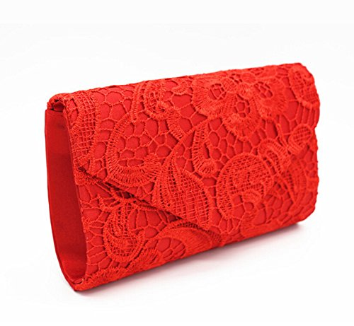 Purse Lace red Envelope Bag Women Bridal Bags Evening Clutch Bridesmaid Wedding PPxqvwr