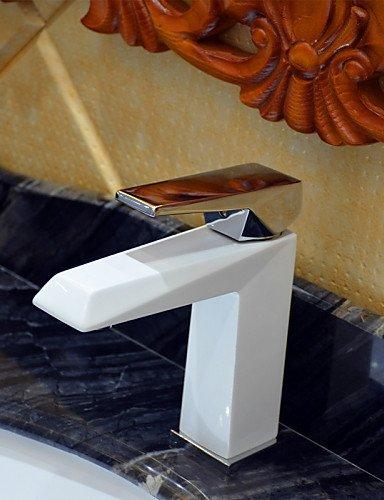 Zeitgenössische Weiß-Malerei ein Loch Einhand Waschbecken Wasserhahn