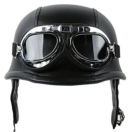 Tengchang Dot Adult German Style Black Leather Half Helmet Motorcycle Chopper Cruiser Biker Helmet+Goggles M Medium