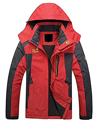 Kaured Stylish Men Winter Waterproof Breathable Coat Lightweight Front-Zip Sportswear Jacket
