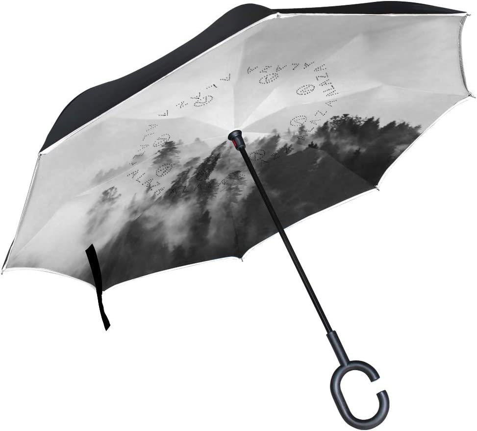 Inverted Umbrella with Classic Aged Misty Forest Print Car Reverse Folding Umbrella Windproof UV Protection with C-Shaped Handle
