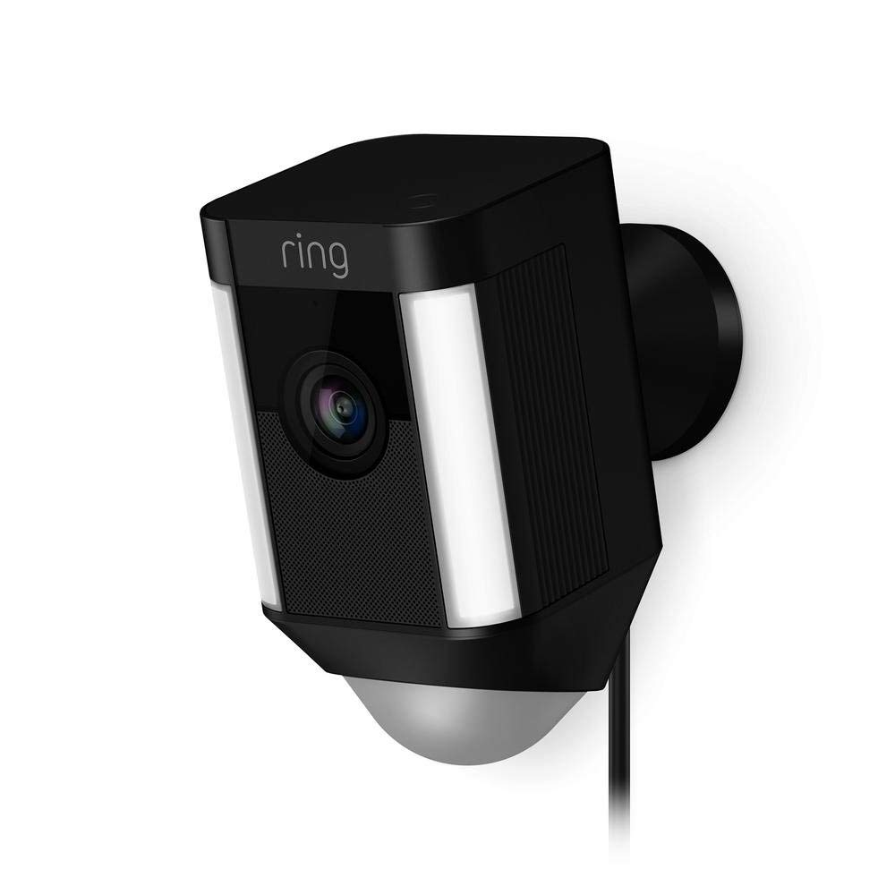 Ring Spotlight Cam Wired: Plugged-in HD security camera with built-in spotlights, two-way talk and a siren alarm, Black, Works with Alexa by Ring