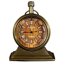 Roman Numeral Antique Retro Vintage-Inspired Brass Metal Craft Christmas Table Clock Gift for Home Décor -3 Inch