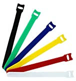 120pcs Reusable Fastening Cable Ties Microfiber Cloth 6-Inch Cable Strap Hook and Loop Multicolor