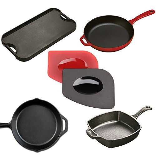 Super Durable 4 Pack Grill Pan Scrapers with Silicone Hot Handle Holder for Lodge Cast Iron Skillets, Cookware Baking Grill Pans