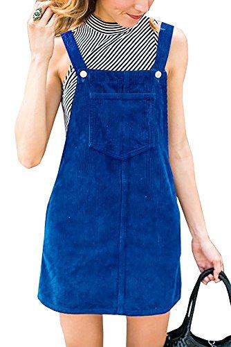 Blue Corduroy Dress - Women's Corduroy Suspender Pinafore Bib Overalls Skirt Dress Pocket Blue M