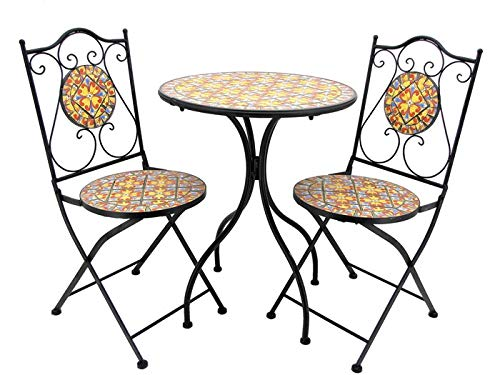 Lesera Ltd. Mosaic Tile Bistro Set Barcelona, (1 Table, 2 Folding Chairs)