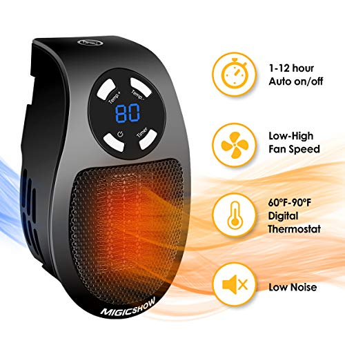 Space Heater for Indoor Use MIGICSHOW Wall-Outlet Space Heaters, Plug-in Bathroom Heater Personal Ceramic Electric Heater Fan for 200 square Office Home with Timer and LED Display, 350-Watt ETL Listed