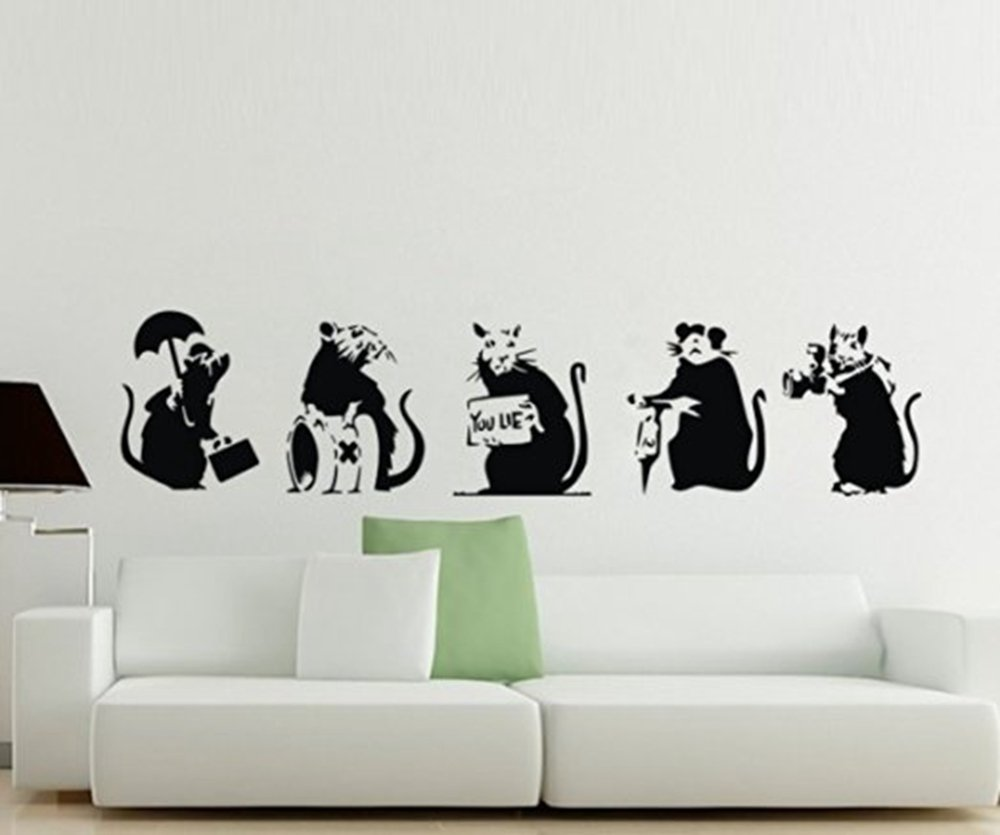 Colorfulhall 787 X 98 Banksy Collection Of 5 Rats Wall Decal