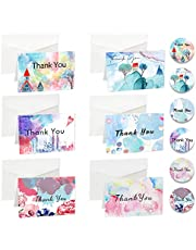 30 Blank Thank You Cards with White Envelopes & Sealing Stickers, 6 Unique Designs 10.5 x 7 cm Thank You Cards for Wedding, Bridal Shower, Baby Shower, Birthday and All Occasions (7)