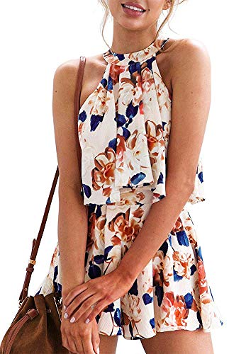 Summer Rompers for Women Casual Floral Printed Jumpsuits Elegant Sleeveless Playsuit 2 Piece Outfits