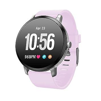 SoloKing Reloj Inteligente Pantalla Color IPS con Multi Modes de Ejercicio, Pulsómetros,Monitor de Sueño,Apoyo Ajuste de Brillo de la Pantalla(Purple): ...