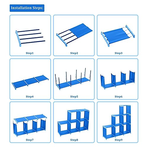2018 Non-Woven 9-Cubes Korean Home Furniture Closet Storage, Adjustable DIY Design for Kids Office Bookshelf Closet Shelf [US STOCK] (Blue) by CINUE (Image #5)