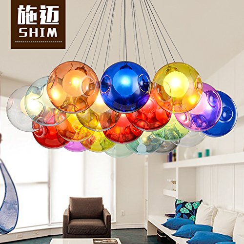 Osradmd Shi Mai Modern Minimalist Glass Ball Bubble Creative Personality Children's Dining Room Living Room Bedroom Clothing Store Chandelier,Single Head Amber -12Cm (Lighting French Amber Ceiling)