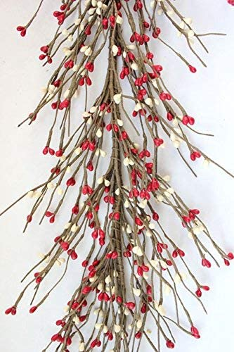 "AR1956C-6 Primitive Pip Berry Garland in Burgundy Color 54/"" 5/' 5ft"