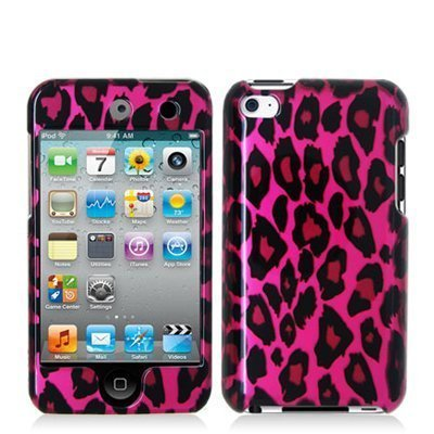 Pink 8 Gb Accessory (Hot Pink Leopard Hard Snap-on Crystal Skin Case Cover Accessory for Ipod Touch 4th Generation 4g 4 8gb 32gb)