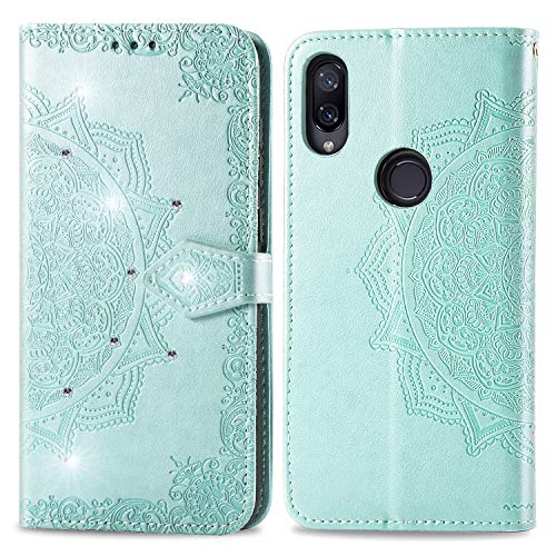 Fantasydao Compatible for Xiaomi Play Magnetic Case Slot Wrist Strap Wallet Embossed PU Leather Cover Flip Stand Card Slot Full Body Men's Women's Diamond Glitter Protective Shell(green)