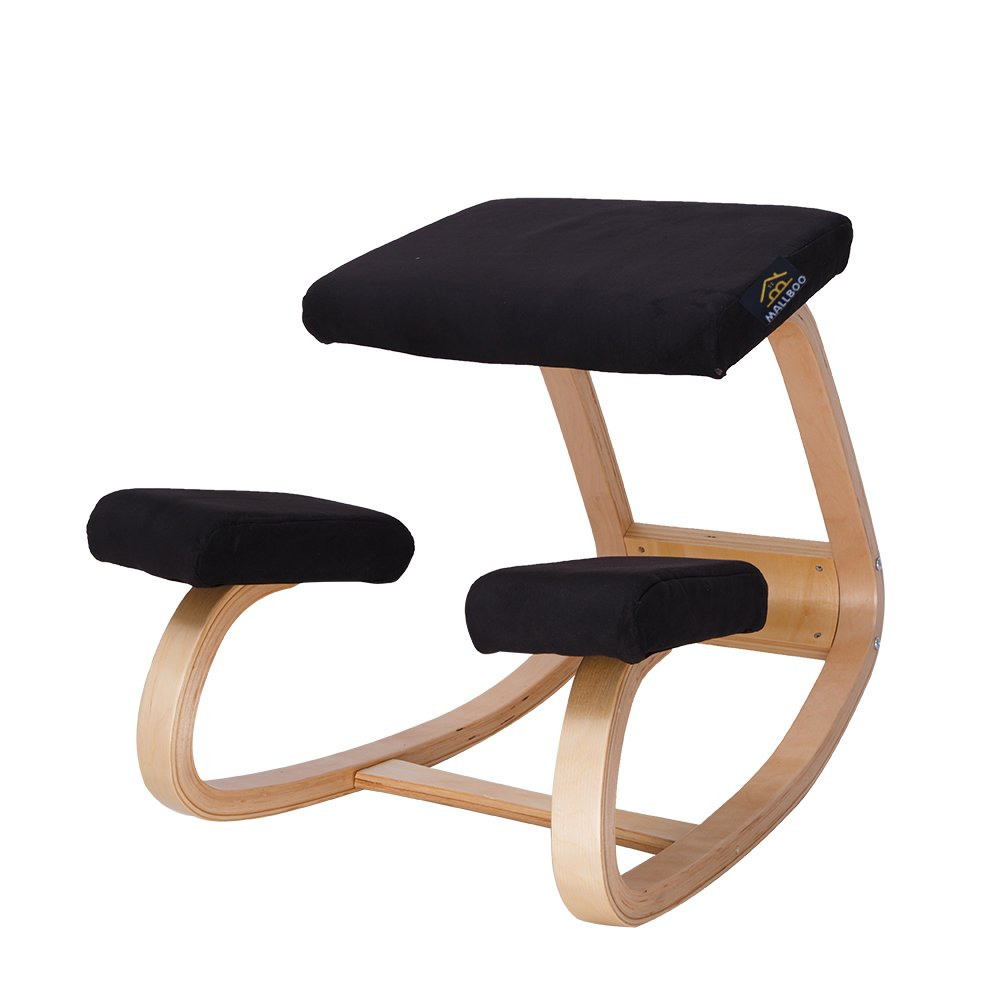 MallBoo Original Variable Balans - Wooden Ergonomic Kneeling Chair in Black Fabirc - Natural Wood Frame