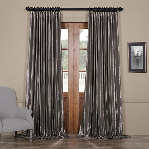 Silver Shimmer Pocket (Half Price Drapes Ptch-BO112-108-DW Blackout Extra Wide Faux Silk Taffeta Curtain, 100 X 108, Polished Silver)