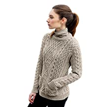 Ladies 100% Irish Merino Wool Cable Sweater with Pockets by West End Knitwear