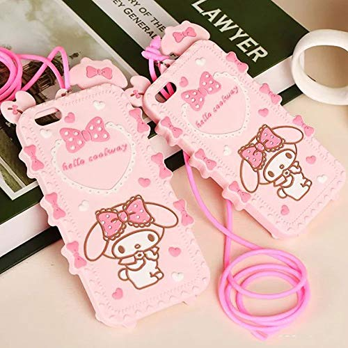 ICI-Rencontrer Super Cute Candy Color Bowknot Rabbit Pattern iPhone XR Case Girls Women Flexible Silicone Cover Anti-Scratch Case with Exquisite Hang Rope Pink (iPhone XR)