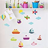 IndButy Wall Stickers Cartoon Aircraft Balloons Kids DIY Toy Gifts Living Room Bedroom Children Room Nursery Wall Decoration Removable Wall Stickers 5070CM