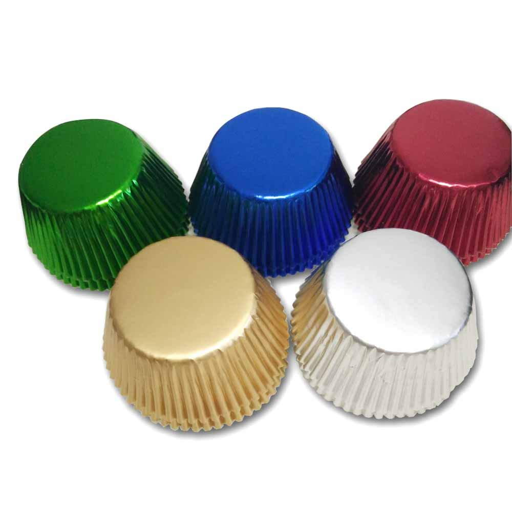 5 color mix Gold,Silver,Blue,Green,Red Foil Metallic Muffin Cupcake Liners Paper case Baking Cups 500 pcs,Standard Size by Lucky-Star