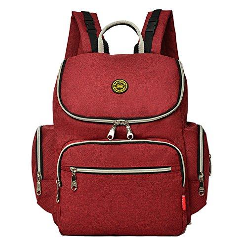 BigForest Mummy Backpack Travel Bag Multifunction Maternity Handbag Baby Diaper Nappy Changing Bag Red
