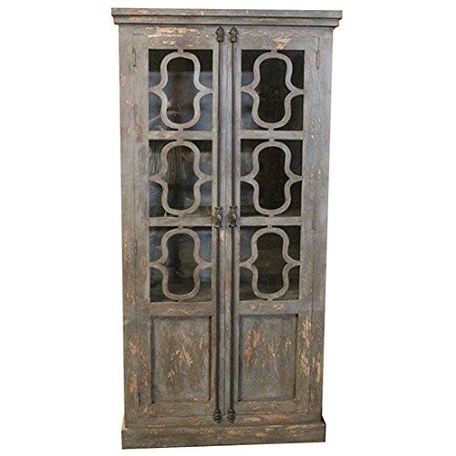 ood Tall 2 Glass Door Distressed Grey Curio (Manor Curio)