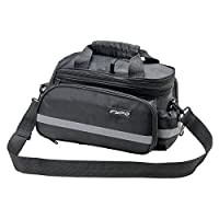 Fypo Bike Panniers Bag, Adjustable Shoulder Straps Carrying Bags Durable Waterproof Nylon With Padded Bottom, 3 Sides Reflectors Rack Rear Tote Bag, Velcro Zipper Pockets Bottle Case