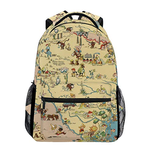 School Backpack Bookbag Texas State Map Cartoon Pattern Rucksack Daypack Waterproof for Middle School Travel Girls Boys Teen (Cartoon Map Texas)