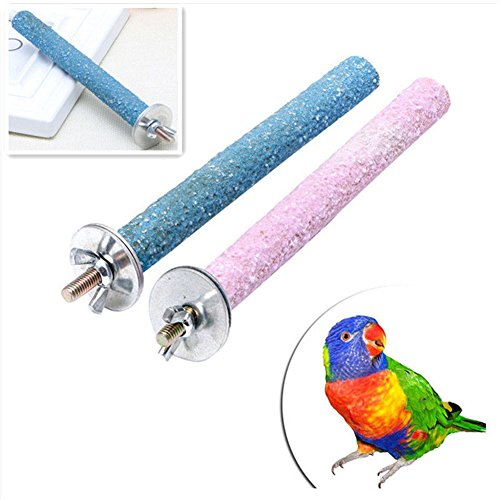 (Teydhao Parrot Perches Bird Stand Natural Wood Quartz Sand Branches Nail Perch for Small Medium Birds Cockatiel Parakeet Pet Parrot Budgie Chew Bite Paw Grinding Rod Toy Bird Cage Play Stand Perches)