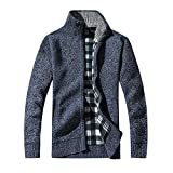Men Clothes Clearance Charberry Stand Collar Thick Sweater Knitting Cotton Stand Zipper Stand Warm Winter Coat