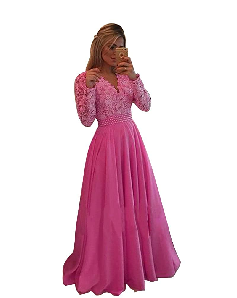 All Fushcia LISA.MOON Women's V Neck Long Sleeves Back Hole Lace Applique Pearl Evening Gown